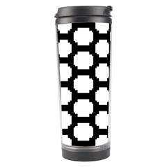 Tile Pattern Black White Travel Tumbler by Alisyart