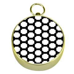 Tile Pattern Black White Gold Compasses by Alisyart