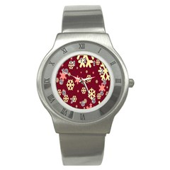 Snowflake Winter Illustration Colour Stainless Steel Watch by Alisyart
