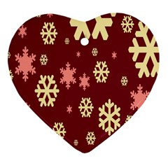 Snowflake Winter Illustration Colour Heart Ornament (two Sides)