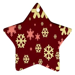 Snowflake Winter Illustration Colour Star Ornament (two Sides)