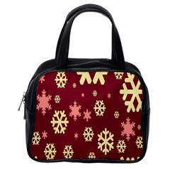 Snowflake Winter Illustration Colour Classic Handbags (one Side)