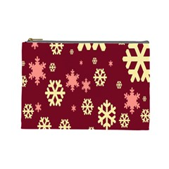 Snowflake Winter Illustration Colour Cosmetic Bag (large)  by Alisyart