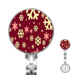 Snowflake Winter Illustration Colour Stainless Steel Nurses Watch by Alisyart