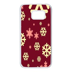 Snowflake Winter Illustration Colour Samsung Galaxy S7 White Seamless Case by Alisyart