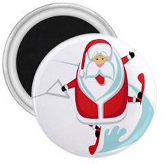 Surfing Snow Christmas Santa Claus 3  Magnets