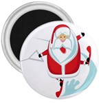 Surfing Snow Christmas Santa Claus 3  Magnets Front