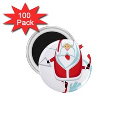 Surfing Snow Christmas Santa Claus 1 75  Magnets (100 Pack)