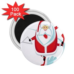 Surfing Snow Christmas Santa Claus 2 25  Magnets (100 Pack)  by Alisyart