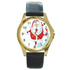 Surfing Snow Christmas Santa Claus Round Gold Metal Watch by Alisyart