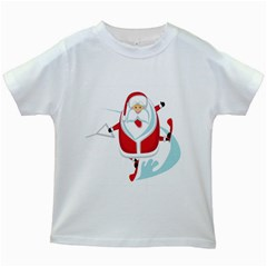 Surfing Snow Christmas Santa Claus Kids White T Shirts by Alisyart