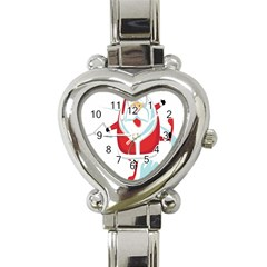 Surfing Snow Christmas Santa Claus Heart Italian Charm Watch