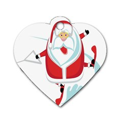 Surfing Snow Christmas Santa Claus Dog Tag Heart (two Sides) by Alisyart