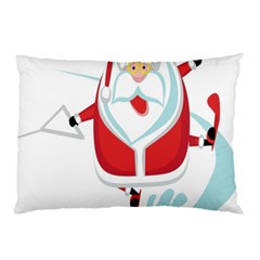 Surfing Snow Christmas Santa Claus Pillow Case by Alisyart
