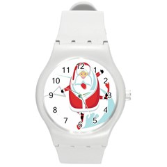 Surfing Snow Christmas Santa Claus Round Plastic Sport Watch (m) by Alisyart
