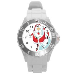 Surfing Snow Christmas Santa Claus Round Plastic Sport Watch (l)