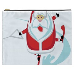 Surfing Snow Christmas Santa Claus Cosmetic Bag (xxxl)