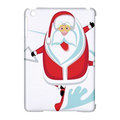Surfing Snow Christmas Santa Claus Apple Ipad Mini Hardshell Case (compatible With Smart Cover) by Alisyart