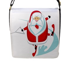 Surfing Snow Christmas Santa Claus Flap Messenger Bag (l)  by Alisyart