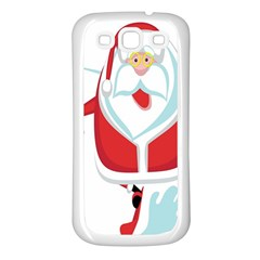 Surfing Snow Christmas Santa Claus Samsung Galaxy S3 Back Case (white)