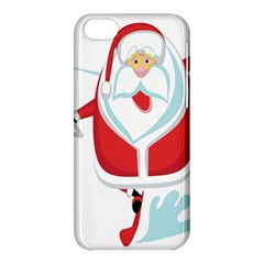 Surfing Snow Christmas Santa Claus Apple Iphone 5c Hardshell Case by Alisyart