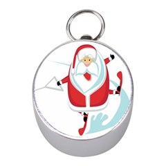 Surfing Snow Christmas Santa Claus Mini Silver Compasses