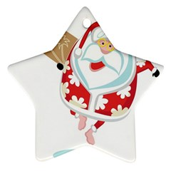 Surfing Christmas Santa Claus Ornament (star)