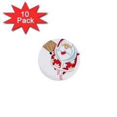 Surfing Christmas Santa Claus 1  Mini Buttons (10 Pack)