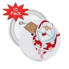 Surfing Christmas Santa Claus 2 25  Buttons (10 Pack)  by Alisyart
