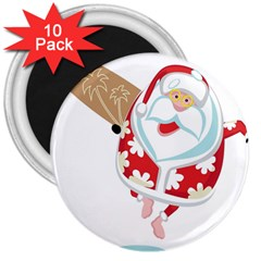 Surfing Christmas Santa Claus 3  Magnets (10 Pack)  by Alisyart