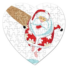 Surfing Christmas Santa Claus Jigsaw Puzzle (heart) by Alisyart