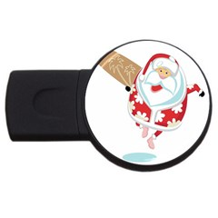 Surfing Christmas Santa Claus Usb Flash Drive Round (4 Gb)