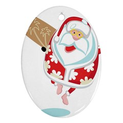 Surfing Christmas Santa Claus Oval Ornament (two Sides) by Alisyart