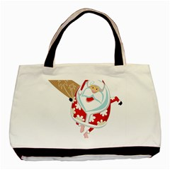 Surfing Christmas Santa Claus Basic Tote Bag (two Sides) by Alisyart