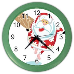 Surfing Christmas Santa Claus Color Wall Clocks by Alisyart
