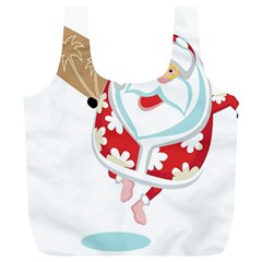 Surfing Christmas Santa Claus Full Print Recycle Bags (l)  by Alisyart