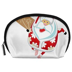 Surfing Christmas Santa Claus Accessory Pouches (large)