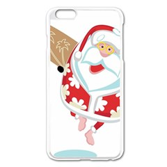 Surfing Christmas Santa Claus Apple Iphone 6 Plus/6s Plus Enamel White Case by Alisyart