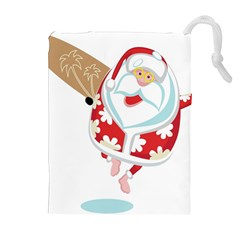 Surfing Christmas Santa Claus Drawstring Pouches (extra Large)