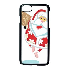Surfing Christmas Santa Claus Apple Iphone 7 Seamless Case (black) by Alisyart
