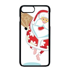 Surfing Christmas Santa Claus Apple Iphone 8 Plus Seamless Case (black) by Alisyart