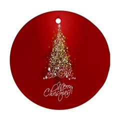 Tree Merry Christmas Red Star Ornament (round)
