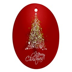Tree Merry Christmas Red Star Ornament (oval)