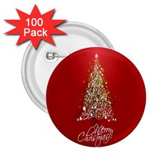 Tree Merry Christmas Red Star 2 25  Buttons (100 Pack)  by Alisyart