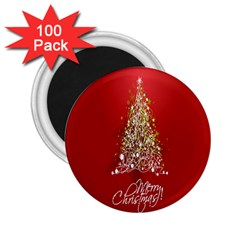 Tree Merry Christmas Red Star 2 25  Magnets (100 Pack)