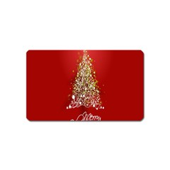 Tree Merry Christmas Red Star Magnet (name Card)
