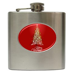 Tree Merry Christmas Red Star Hip Flask (6 Oz)