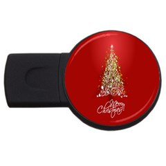 Tree Merry Christmas Red Star Usb Flash Drive Round (2 Gb)