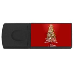 Tree Merry Christmas Red Star Rectangular Usb Flash Drive
