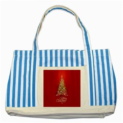 Tree Merry Christmas Red Star Striped Blue Tote Bag